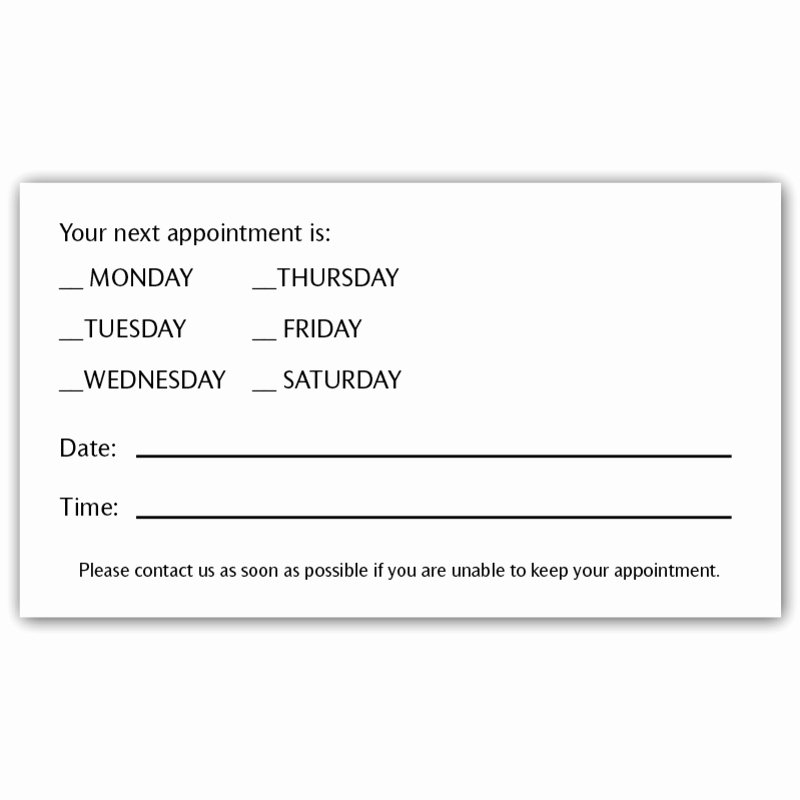 Free Appointment Card Template Lovely 8 Best Of Appointment Reminder Postcard Template