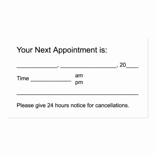 Free Appointment Card Template New Business Appointment Card Template Stones & Candle