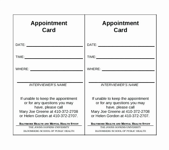 Free Appointment Card Template Unique Doctors Appointment Card Template Doctor Visit form