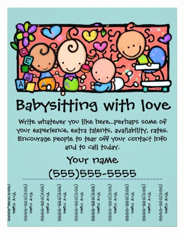Free Babysitting Flyer Template Beautiful 15 Cool Babysitting Flyers 14 Babysitting