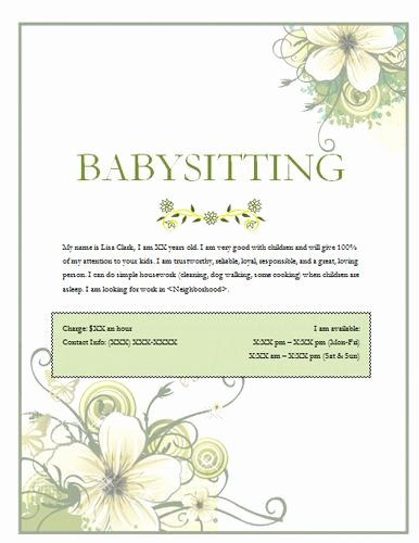 Free Babysitting Flyer Template Beautiful Image On Hloom Babysitting