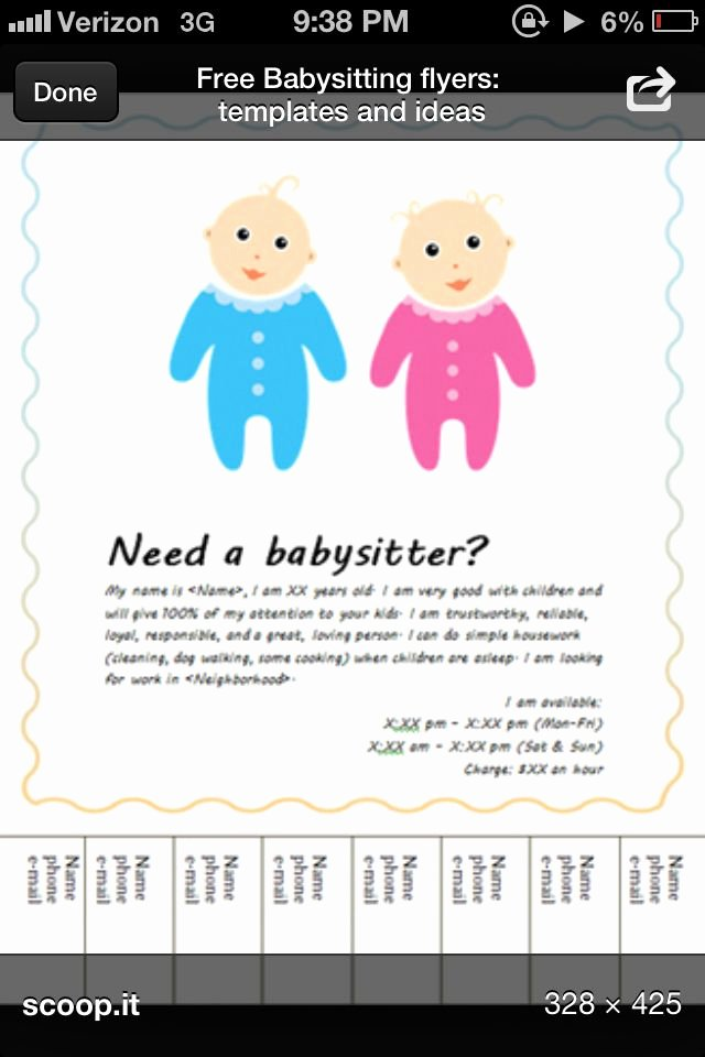 Free Babysitting Flyer Template Fresh Babysitting Flyer Template Babysiting