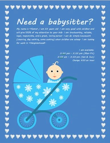 Free Babysitting Flyer Template Fresh Babysitting Flyer with Baby Carriage Ideas