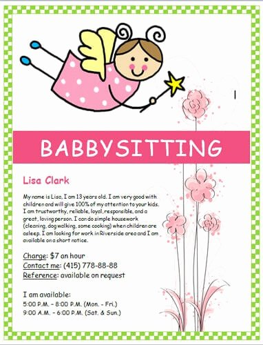 Free Babysitting Flyer Template Fresh Babysitting Flyers and Ideas [16 Free Templates]