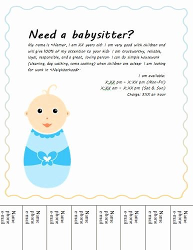 Free Babysitting Flyer Template Inspirational Cute Baby Tear Off Babysitting Flyer
