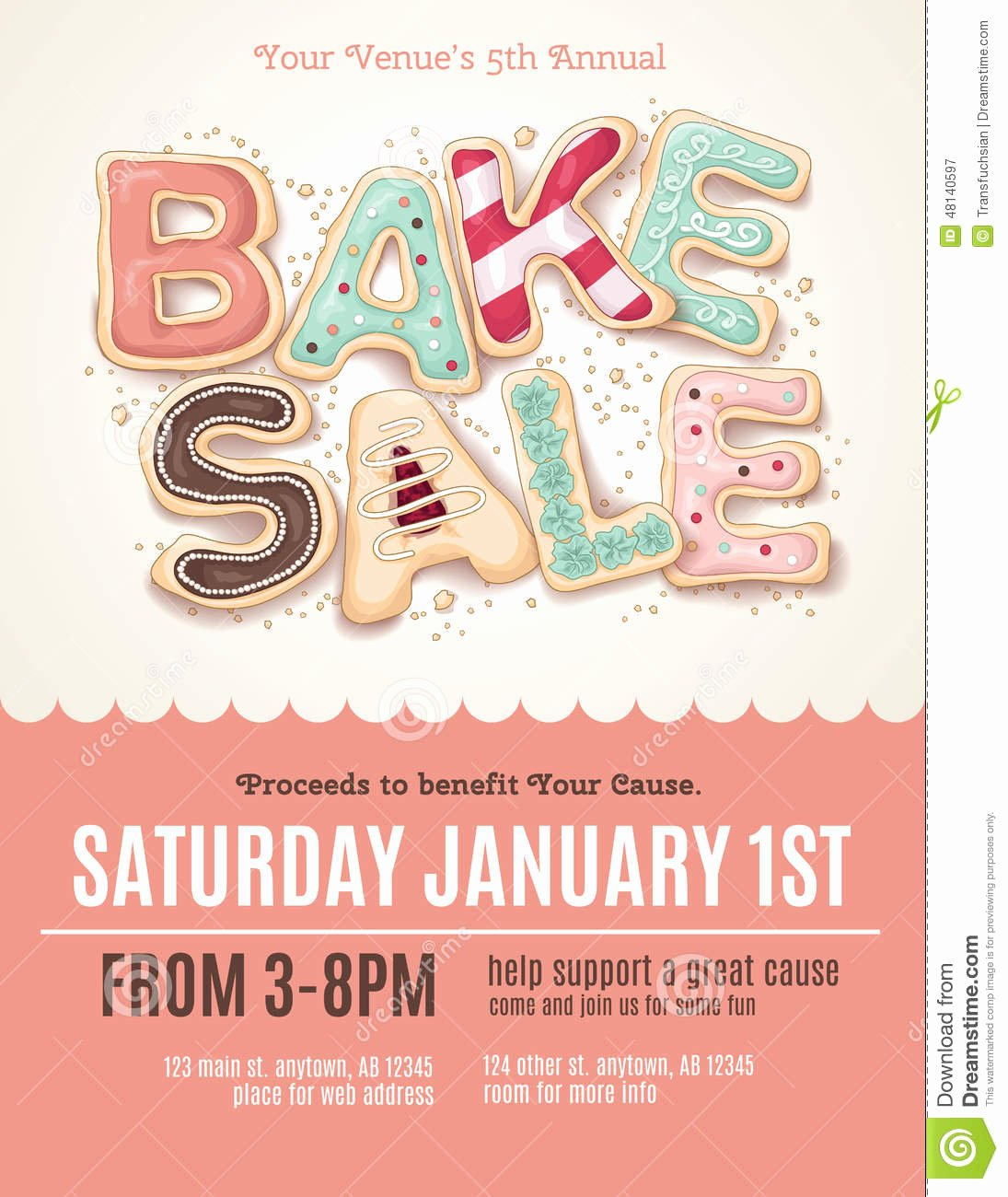 Free Bake Sale Template Best Of Fun Cookie Bake Sale Flyer Template Stock Vector