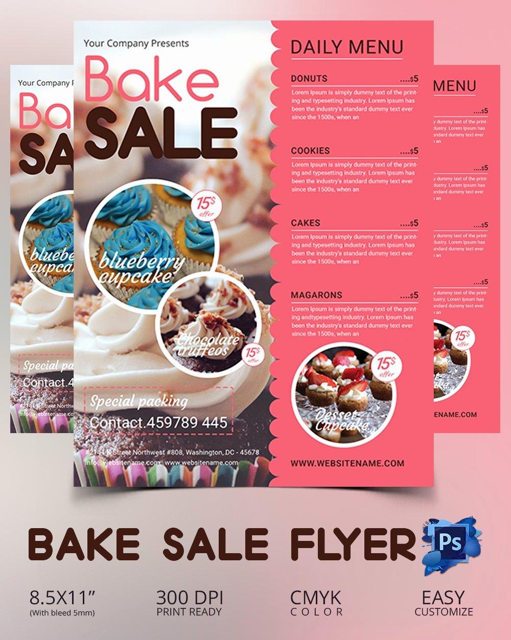 Free Bake Sale Template Elegant Bake Sale Flyer Template 34 Free Psd Indesign Ai
