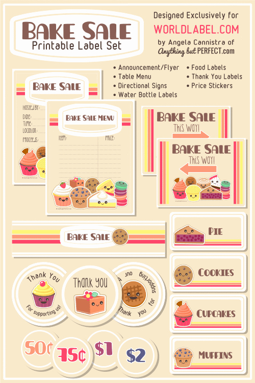 Free Bake Sale Template Inspirational Bake Sale Printable Labels Set
