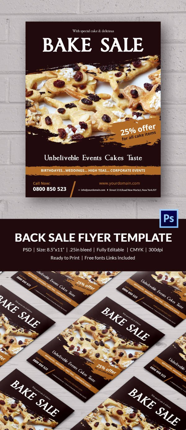Free Bake Sale Template New Bake Sale Flyer Template 24 Free Psd Indesign Ai