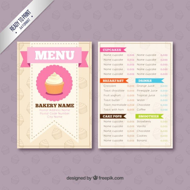 Free Bakery Menu Template Awesome Bakery Menu Template Vector