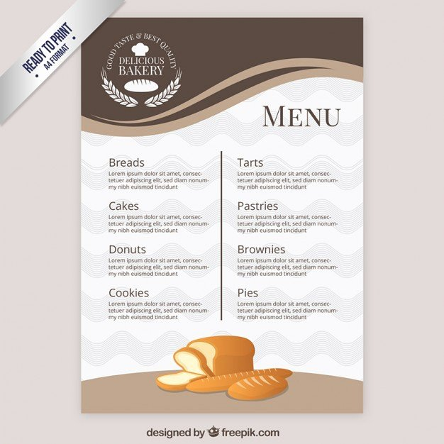 Free Bakery Menu Template Beautiful Elegant Menu Template Bakery Vector