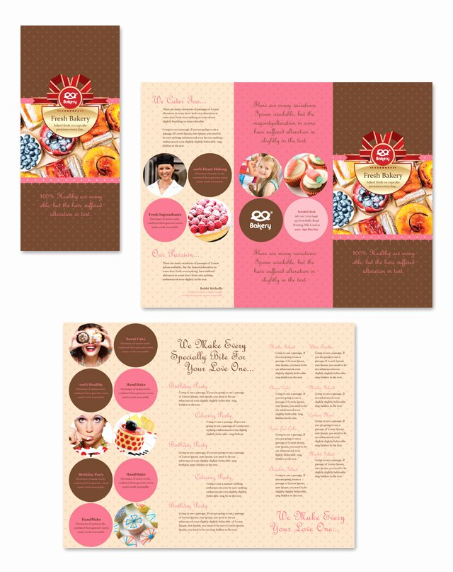 Free Bakery Menu Template Fresh Bakery Tri Fold Brochure Template