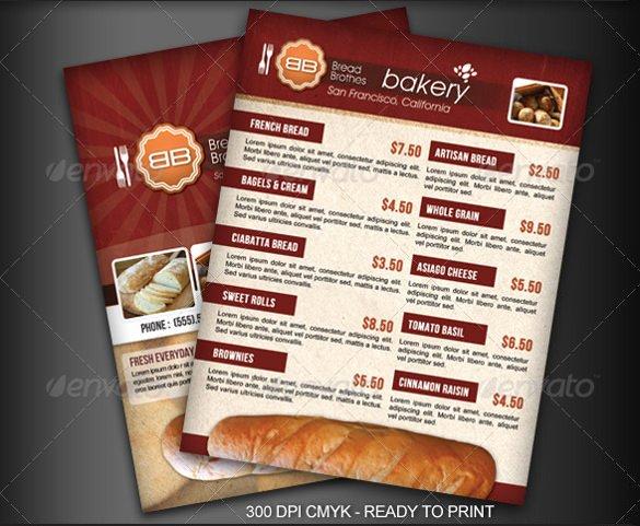 Free Bakery Menu Template New 30 Bakery Menu Templates Psd Pdf Eps Indesign