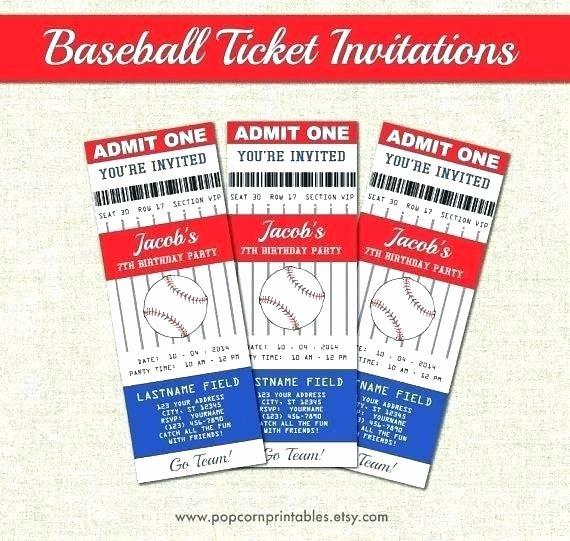 Free Baseball Ticket Template Awesome Ticket Invitation Template Free Plus Baseball Birthday