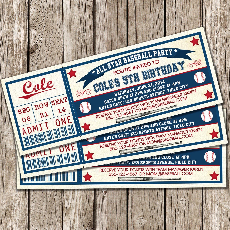 Free Baseball Ticket Template Beautiful Vintage Baseball Ticket Invitation Baseball Birthday Party