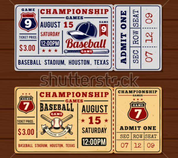 Free Baseball Ticket Template Best Of 13 Vintage Ticket Designs & Templates Psd Ai Indesign
