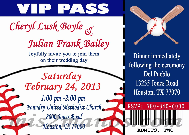 Free Baseball Ticket Template Fresh Baseball theme Wedding Party Printable Ticket Invitations Diy