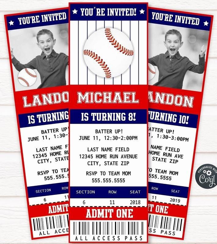 Free Baseball Ticket Template Inspirational Free Printable Baseball Ticket Invitation Template