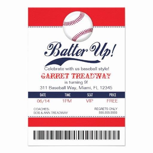 Free Baseball Ticket Template Inspirational Personalized Baseball Invitations