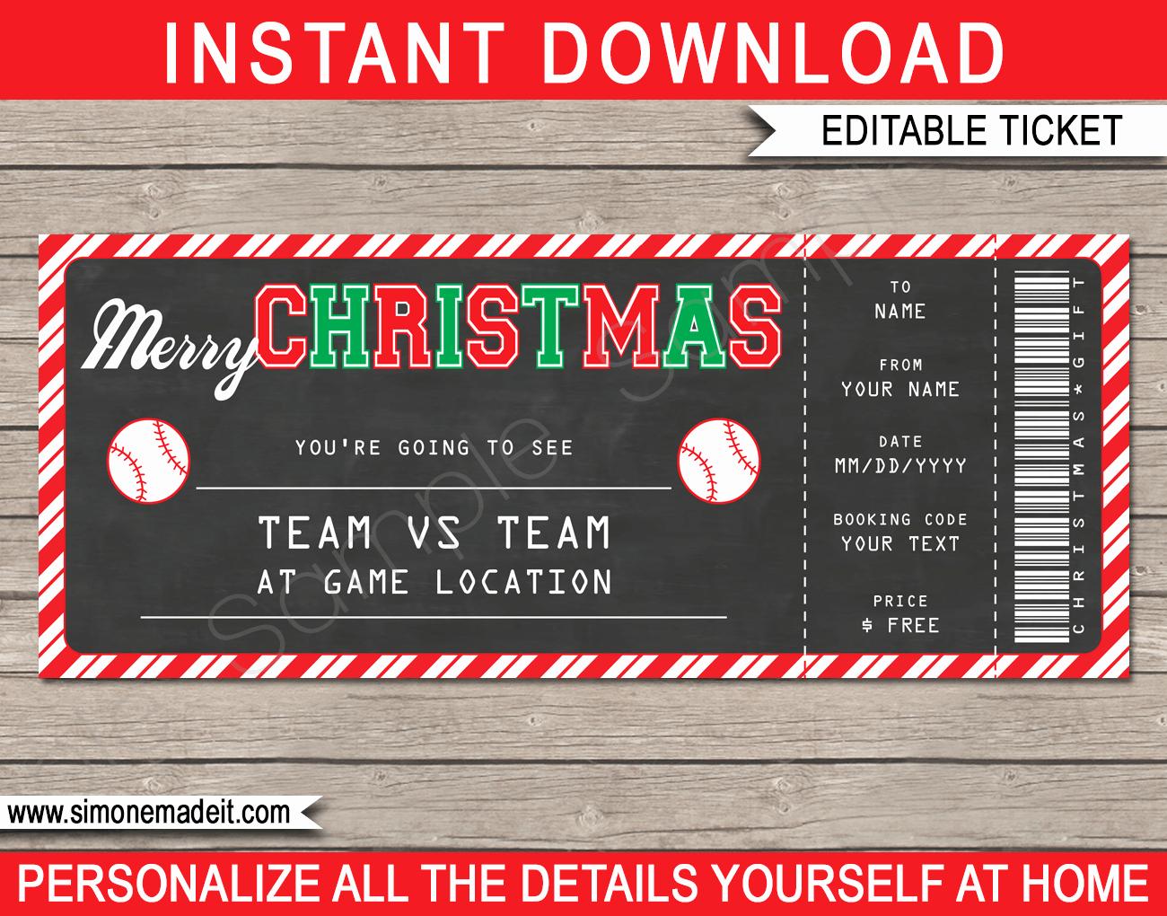 Free Baseball Ticket Template New Christmas Gift Baseball Ticket Template