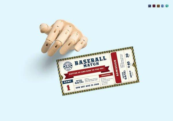 Free Baseball Ticket Template Unique 9 Baseball Ticket Templates Free Psd Ai Vector Eps