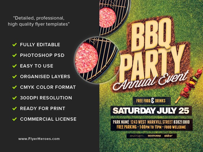 Free Bbq Flyer Template Fresh Annual Bbq Party Flyer Template Flyerheroes