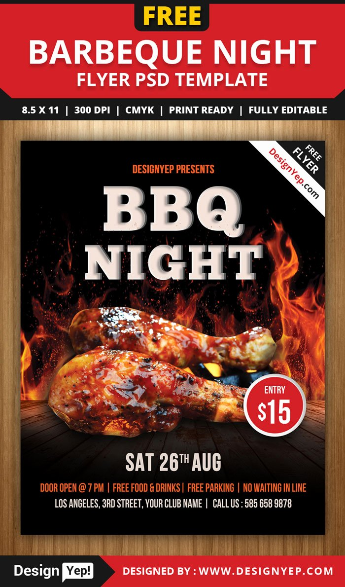 Free Bbq Flyer Template Inspirational 30 Free Restaurant and Food Menu Flyer Templates Designyep
