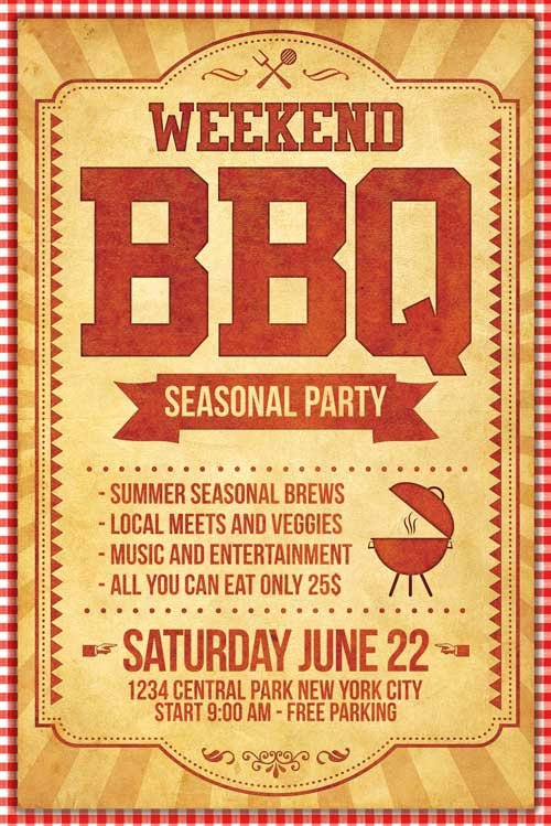 Free Bbq Flyer Template New Bbq Flyer Template Psd Xtremeflyers