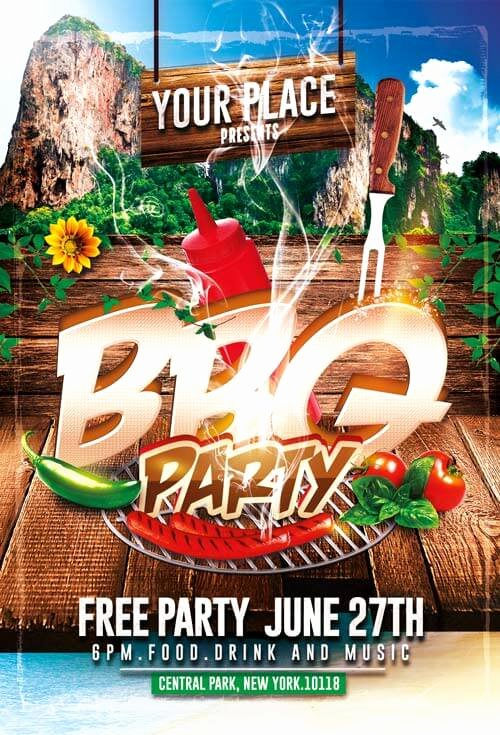 Free Bbq Flyer Template New Bbq Party Flyer Templates Psd 003 Creativeflyers