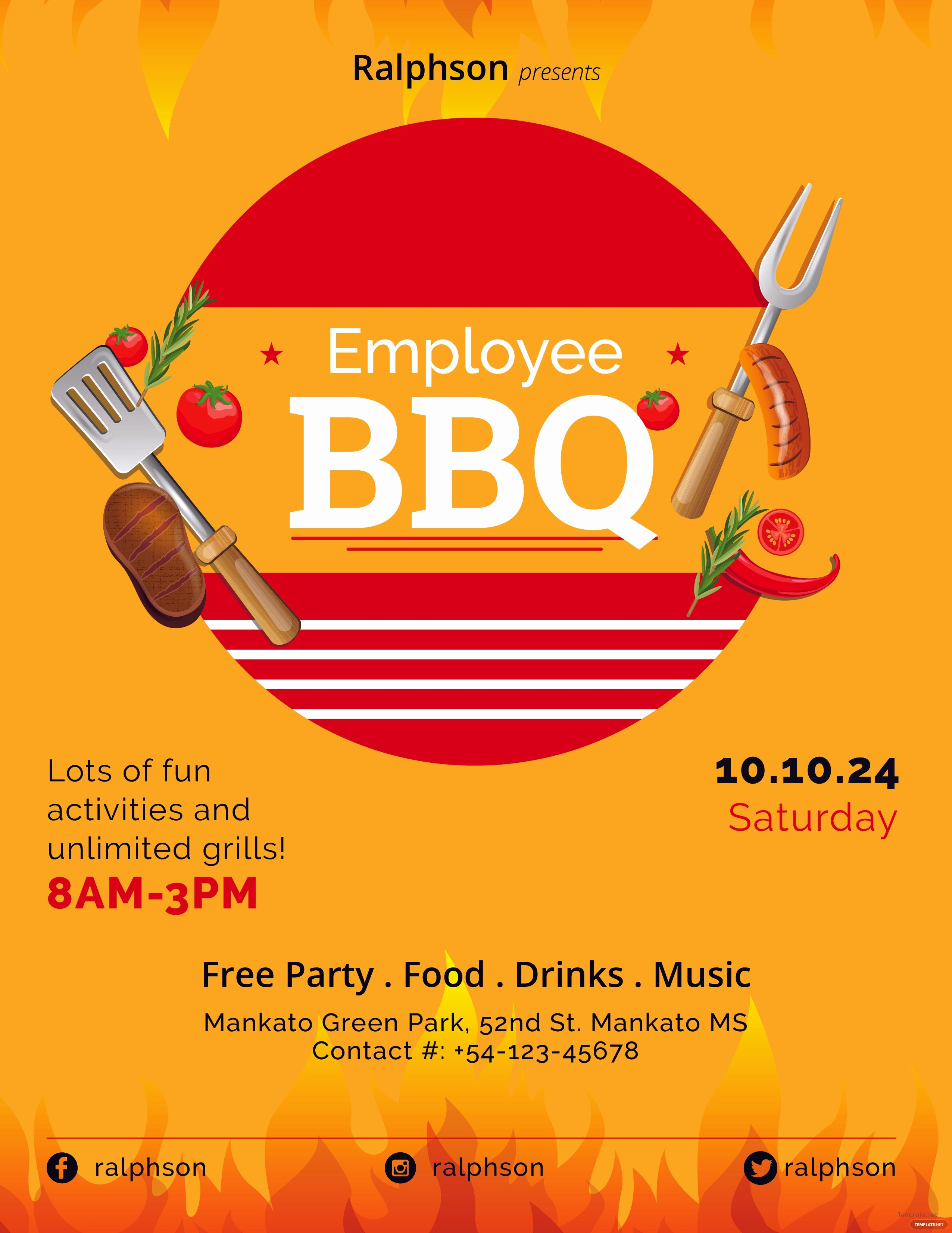 Free Bbq Flyer Template Unique Free Employee Bbq Party Flyer Template In Adobe Shop
