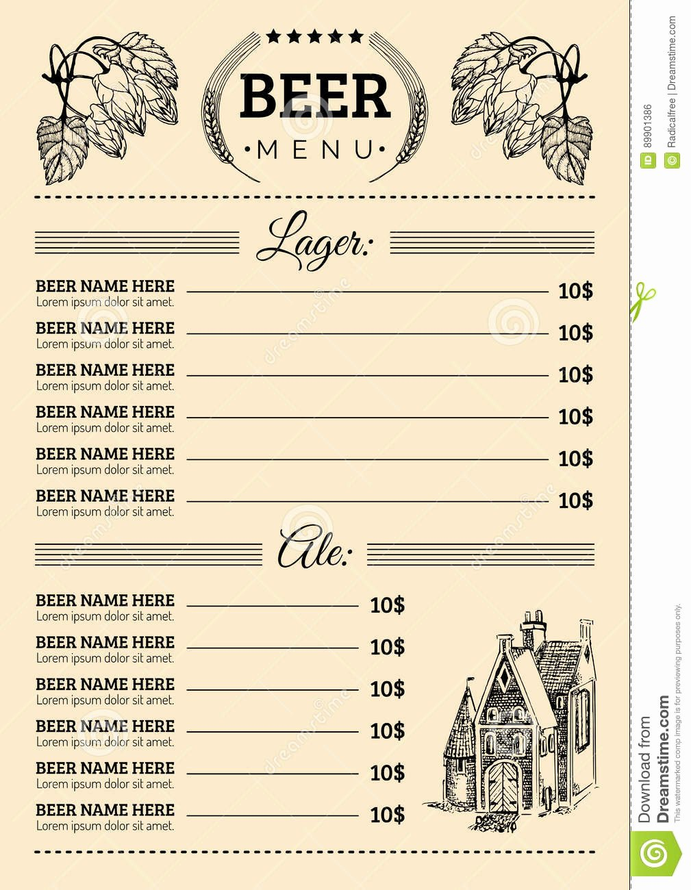 Free Beer Menu Template Awesome Beer Menu Design Template Vector Pub Restaurant Card with