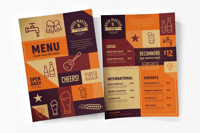 free craft beer menu template