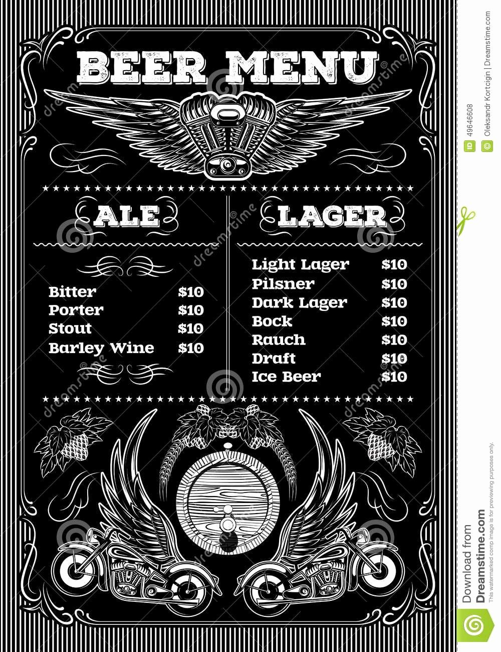 Free Beer Menu Template Awesome Template for the Beer Menu Black Background with