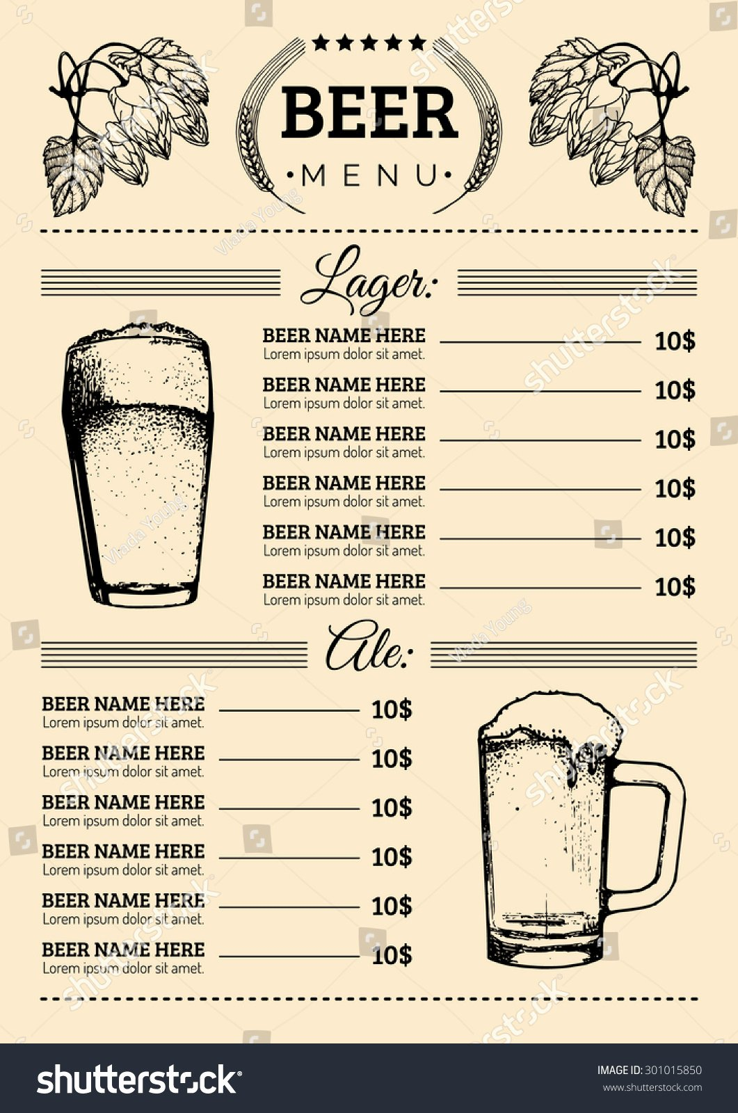 Free Beer Menu Template Beautiful Beer Menu Design Template Vector Bar Stock Vector