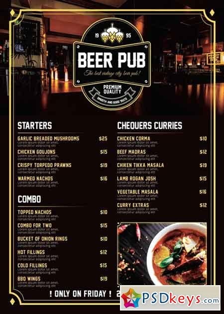 Free Beer Menu Template Beautiful Beer Pub Menu Premium A5 Flyer Template Free Download