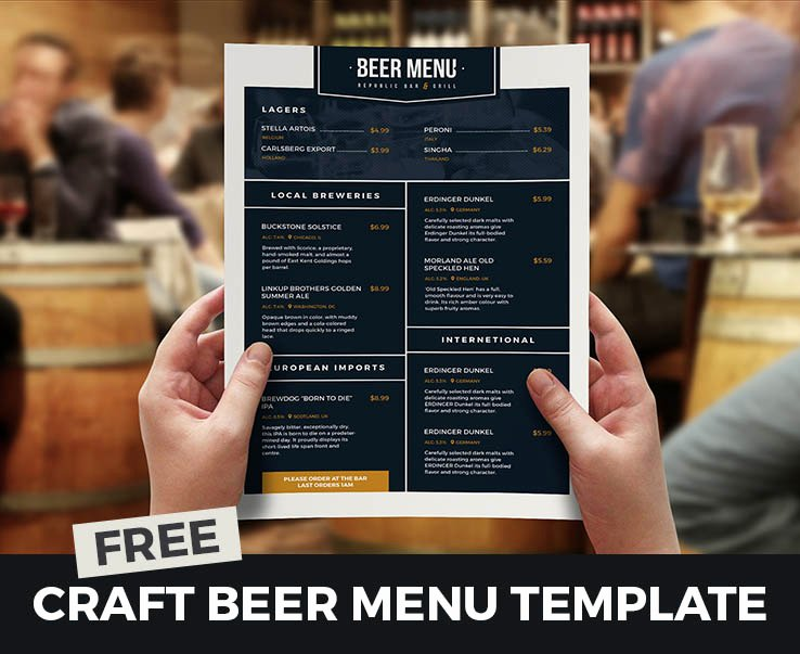 Free Beer Menu Template Beautiful Free Beer Menu Template for Shop & Illustrator