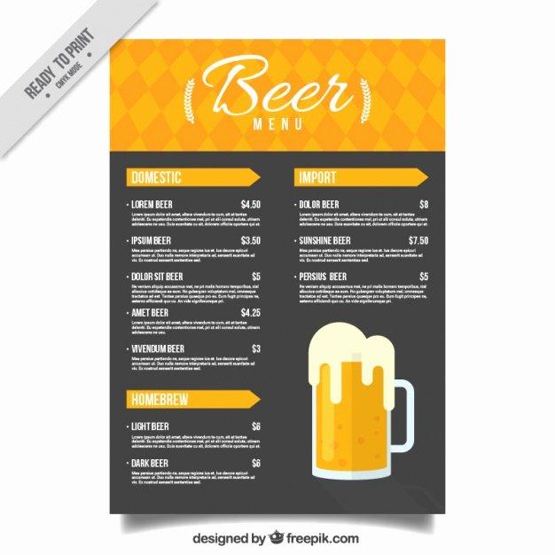 Free Beer Menu Template Best Of Beer Menu In Yellow and Black tones Vector