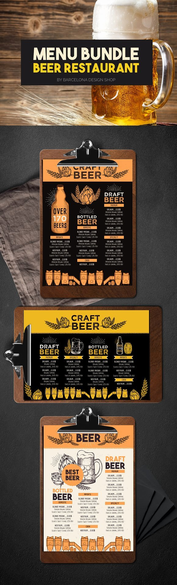 Free Beer Menu Template Elegant Beer Menu Bundle Brochure Templates Creative Market