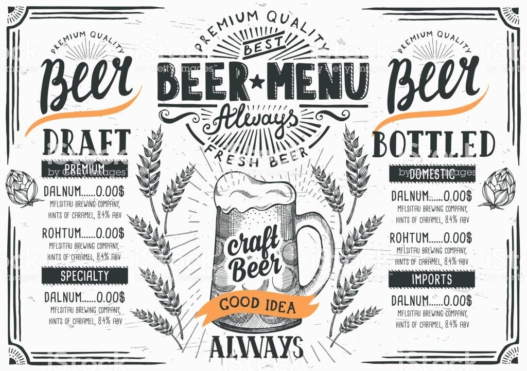 Free Beer Menu Template Inspirational Beer Menu Restaurant Drink Template Stock Vector Art