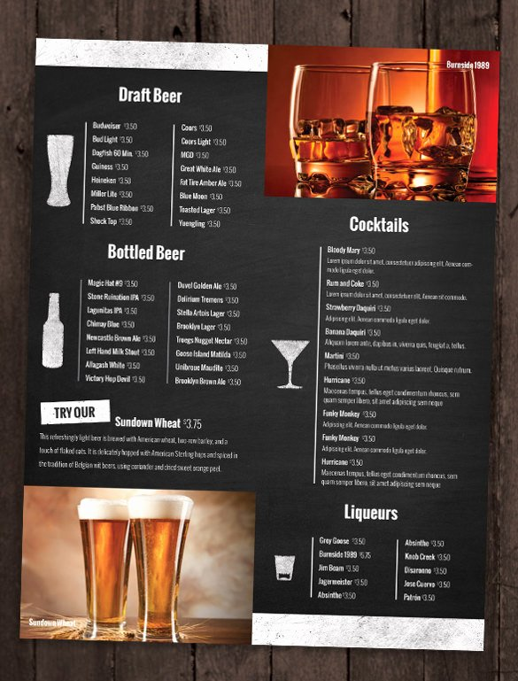 Free Beer Menu Template Luxury Bar Menu Template Templates Data