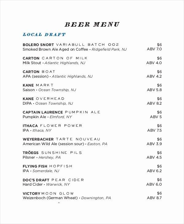 Free Beer Menu Template New 30 Menu Templates Free Sample Example format