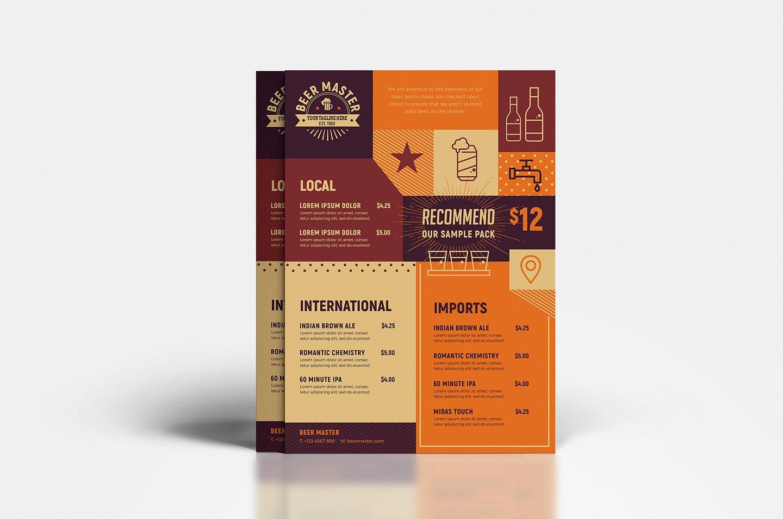 Free Beer Menu Template New Free Craft Beer Menu Template In Psd Ai & Vector Brandpacks