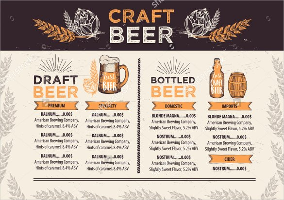 Free Beer Menu Template Unique Beer Menu Template – 14 Free Psd Eps Documents Download