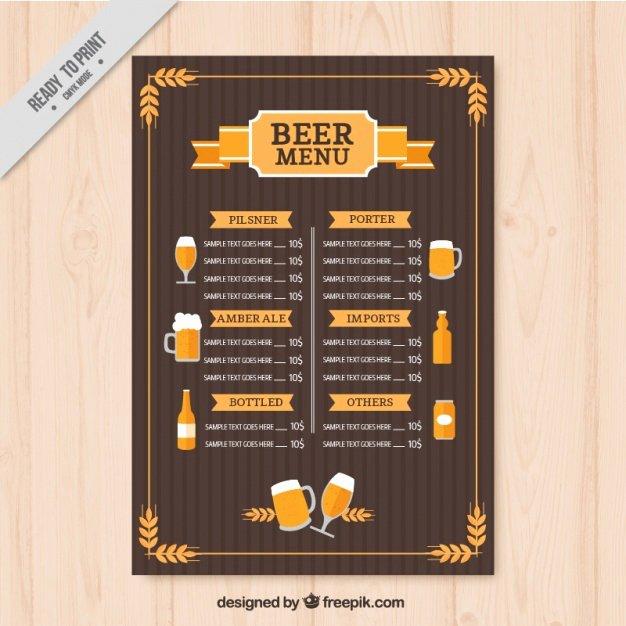 Free Beer Menu Template Unique Vintage Beers Menu Template Vector