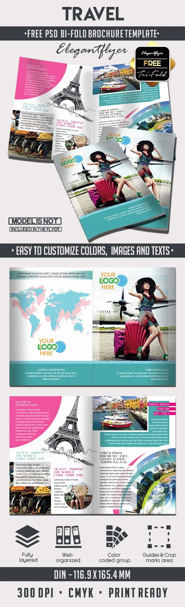 Free Bifold Brochure Template Lovely Travel – Free Bi Fold Psd Brochure Template – by Elegantflyer