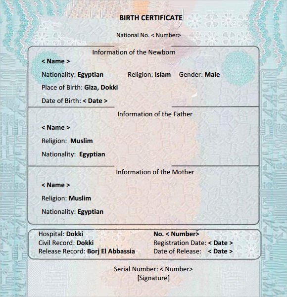 Free Birth Certificate Template Awesome 8 Birth Certificate Templates – Free Examples Samples