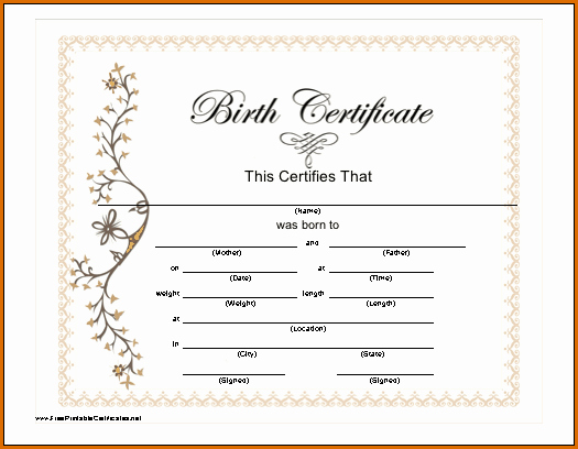 Free Birth Certificate Template Inspirational 7 Blank Birth Certificate