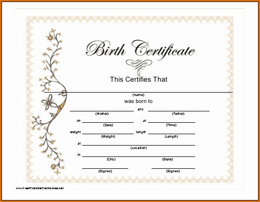 Free Birth Certificate Template Inspirational 7 Blank Birth Certificate