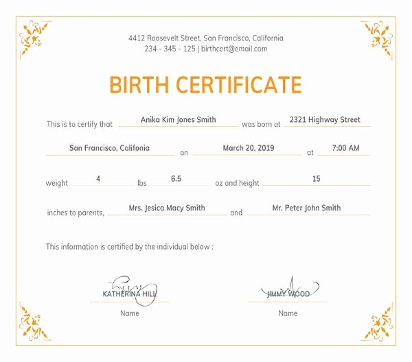 Free Birth Certificate Template Unique 82 Free Printable Certificate Template Examples In Pdf