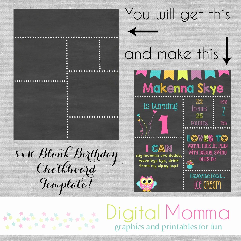 Free Birthday Chalkboard Template Beautiful Printable Diy Blank Birthday Chalkboard Template by